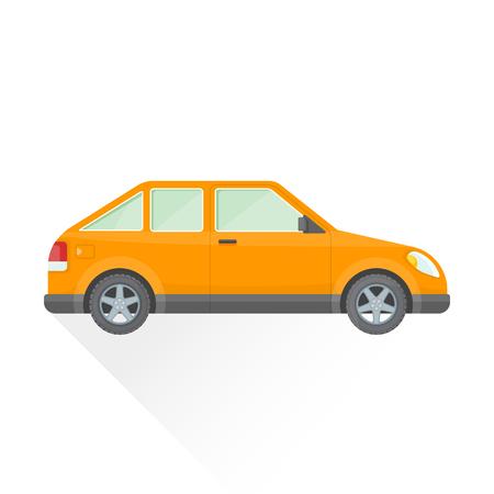 with orange and white body: vector orange color flat design hatchback coupe body type vehicle illustration isolated white background long shadow Illustration