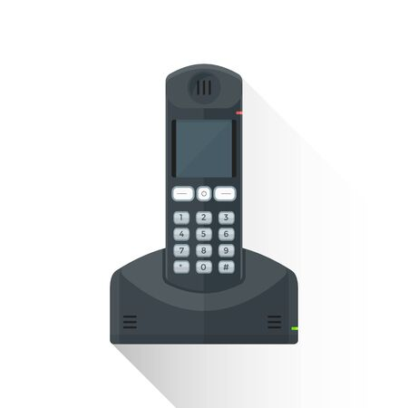 reliance: vector black color flat design reliance wireless landline phone buttons illustration isolated white background long shadow