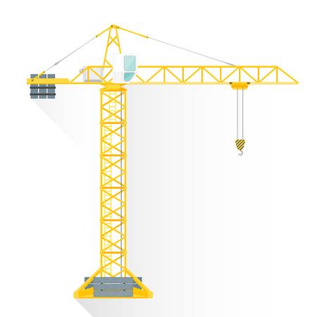벡터 노란색 평면 설계 건설 타워 크레인 흰색 오두막 그림 격리 된 흰색 배경 긴 그림자