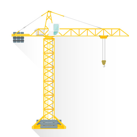 vector yellow color flat design construction tower crane white cabin illustration isolated white background long shadow Vettoriali