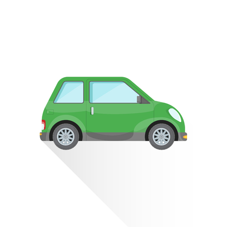 vector light green color flat design subcompact body type vehicle illustration isolated white background long shadow