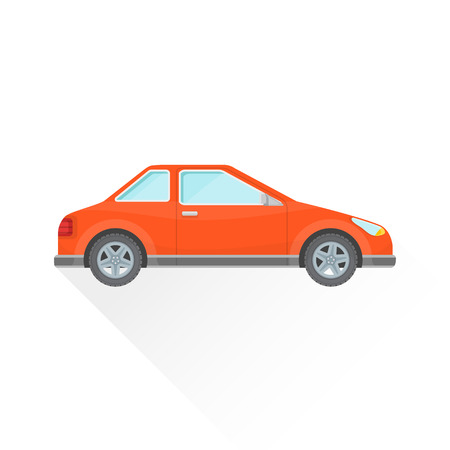 coupe: vector bright red color flat design coupe body type vehicle illustration isolated white background long shadow