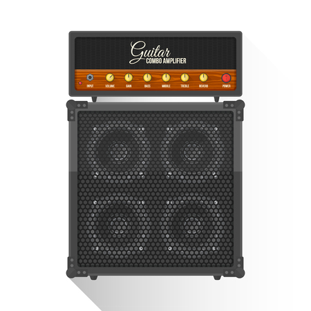 amp: vector black color flat design retro guitar combo amplifier cabinet illustration isolated white background long shadow Illustration