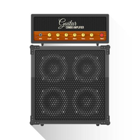guitarra: vector de color negro diseño plano amplificador combo retro guitarra gabinete ilustración de fondo blanco aislado larga sombra