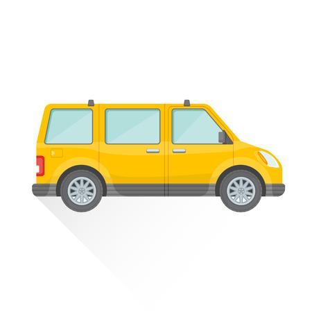 minivan: vector yellow color flat design passenger minivan body type vehicle illustration isolated white background long shadow