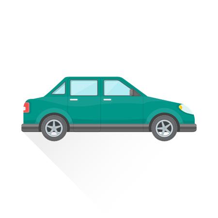 vektör yeşil, mavi renk düz tasarım dört kapılı sedan gövde tipi araç illüstrasyon izole beyaz arka uzun gölge
