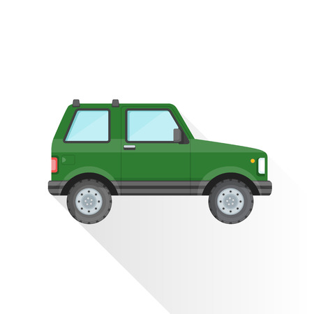 sport utility vehicle: vector green color flat design sport utility body type vehicle illustration isolated white background long shadow