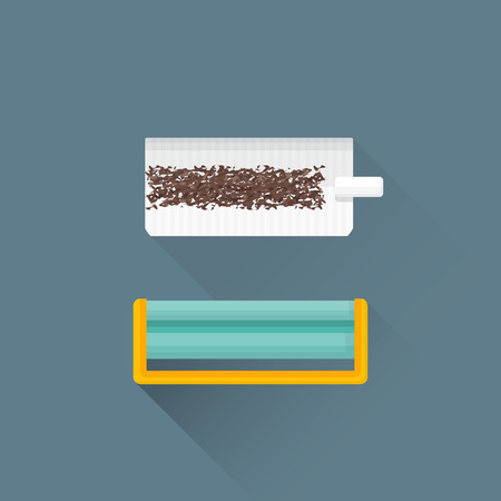 smokers: vector colored flat design rolling tobacco filter paper machine isolated illustration gray background long shadows