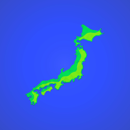 honshu: vector colored map flat design abstract japan Honshu Hokkaido islands illustration isolated blue background