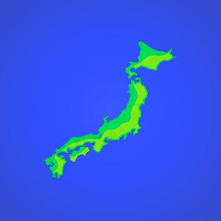 hokkaido: vector colored map flat design abstract japan Honshu Hokkaido islands illustration isolated blue background