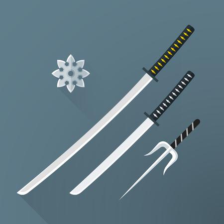 Samuraî: vecteur design plat coloré japon katana des armes d'acier froid épée Wakizashi shuriken sai illustration isolé fond gris longues ombres