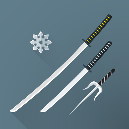 sword fight: vector colored flat design japan cold steel arms katana sword wakizashi shuriken sai isolated illustration gray background long shadows