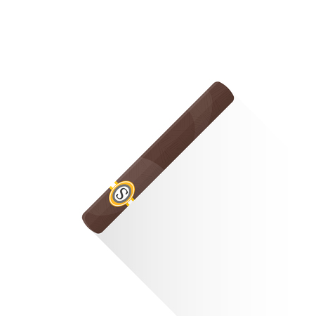 vector brown color flat design rolled cigar with brand golden label illustration isolated white background long shadow