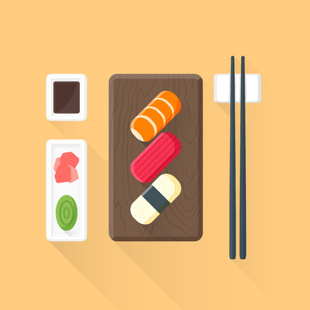 sushi  plate: vector color flat design japan ceremony sushi rolls wood plate pickled ginger wasabi soy sauce sticks isolated illustration light background long shadows Illustration