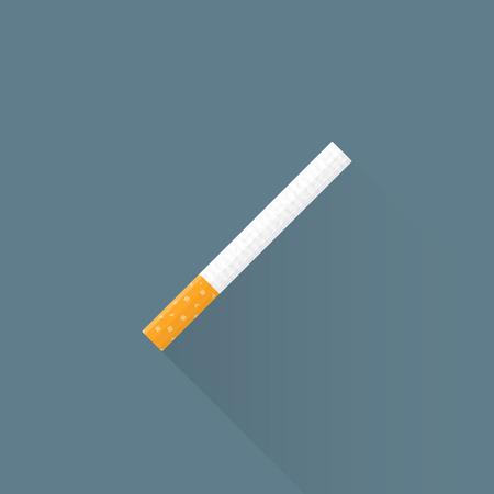 벡터 컬러 평면 디자인 담배 오렌지 필터 그림 격리 어두운 배경 긴 그림자