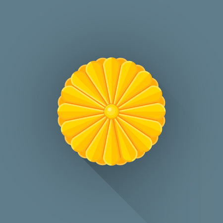 bandera japon: vector de color diseño plano japón brillante de oro sello imperial signo ilustración fondo gris larga sombra