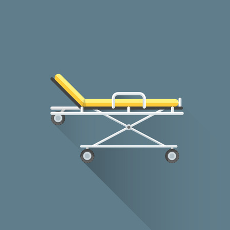 paralysis: vector colored flat design yellow medical emergency stretcher metal frame rubber black wheels illustration isolated dark background long shadow