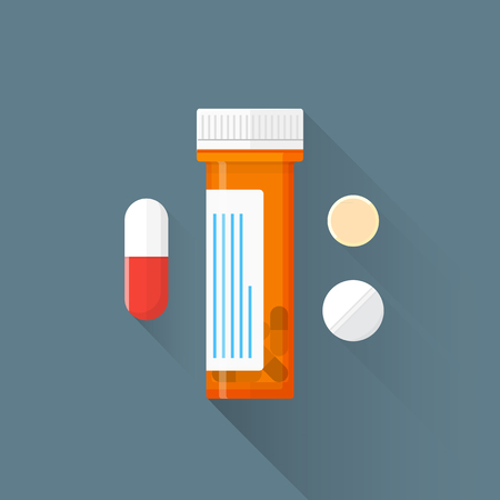 vector colored flat design orange plastic container cap red white tablets pills drugs illustration isolated dark background long shadow