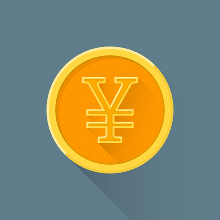 japanese currency: vector colored flat design Japanese currency yen yellow golden circle money coin illustration isolated dark background long shadow