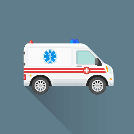 medical emergency service: vector white color red stripes flat design ambulance emergency car first-aid cross sign illustration isolated dark background long shadow Illustration