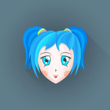 manga girl: vector colored flat design japanese anime manga girl face big blue eyes cyan hair illustration isolated dark background long shadow
