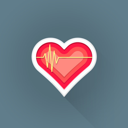 sick people: vector colored flat design red heart pulse line cardiac sign illustration isolated dark background long shadow