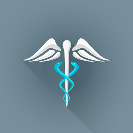 Asclepius sembolü illüstrasyon izole koyu arka plan, uzun gölge vektör renkli düz tasarım caduceus beyaz kanat mavi yılan Rod