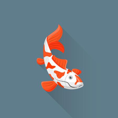swimming carp: vector colored flat design white orange red japanese carp koi illustration isolated dark background long shadow Illustration