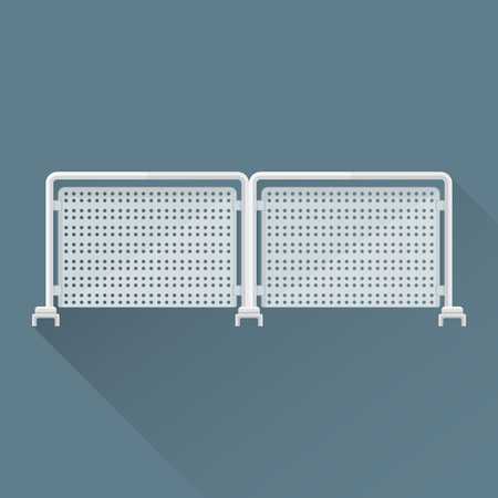 metal construction: vector colored flat design metal construction folding fencing illustration isolated dark background long shadow Illustration
