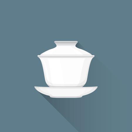 oolong: vector white color flat design asian porcelain tea gaiwan on saucer illustration isolated dark background long shadow Illustration