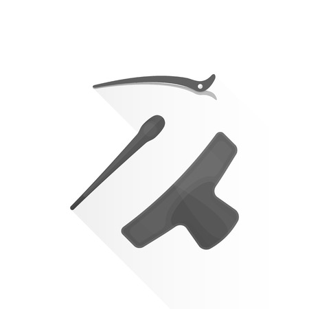 barrettes: vector black color flat design plastic barber barrettes pins collection illustration isolated white background long shadow Illustration