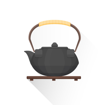 cast iron: vector black color flat design asian tea cast iron kettle on wooden stand bamboo handle illustration isolated white background long shadow