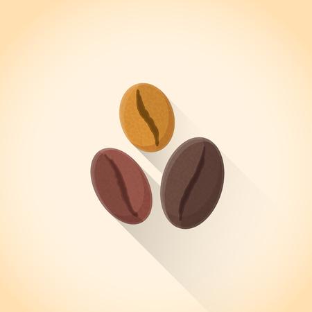 Vektör düz tasarım çeşitli kavrulmuş kahve çekirdekleri illüstrasyon izole ışık arka plan, uzun gölge renkli dokulu