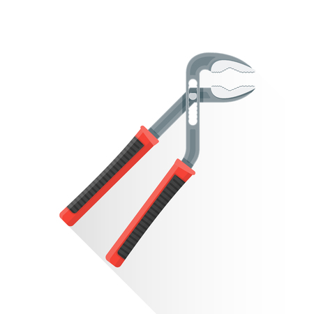 adjustable: vector colored flat design construction adjustable water pump pliers red black handle illustration isolated white background long shadow Illustration