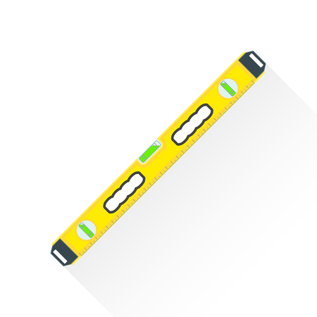 plumb: vector yellow color flat design house remodel construction measuring level illustration isolated white background long shadow