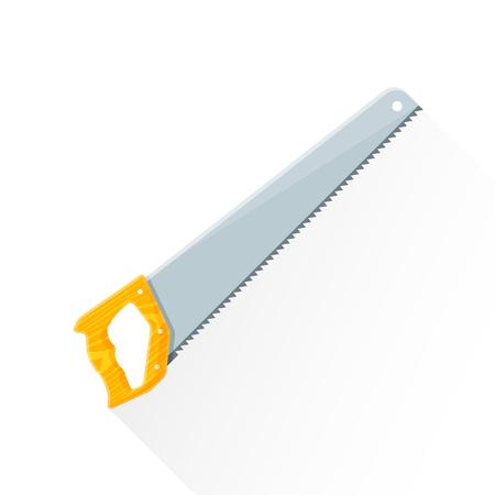 serrucho: construcci�n sierra de mano del vector de color dise�o plano casa remodelaci�n con textura de madera mango ilustraci�n de fondo blanco aislado larga sombra