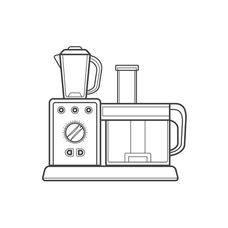 food processor: vector monochrome contour kitchen food processor isolated black outline illustration on white background