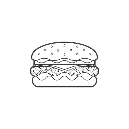 sesame seed: vector monochrome contour fast food hamburger with beef fresh lettuce onion tomato sesame seed cheese isolated black outline illustration on white background