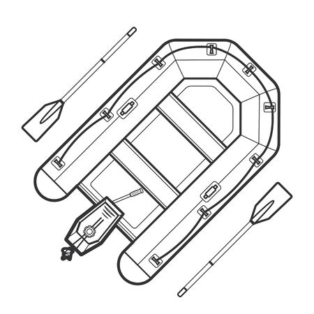 outboard: vector monochrome contour inflatable boat outboard motor engine aluminum paddle isolated black outline illustration on white background Illustration