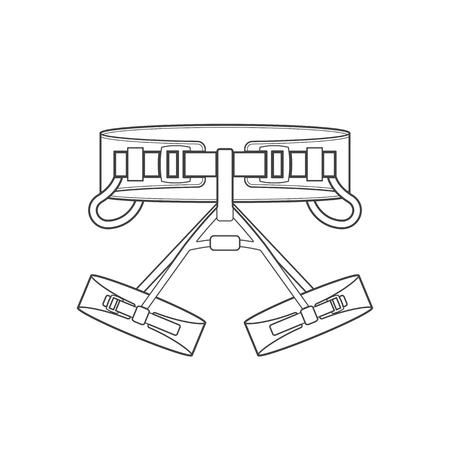 safety harness: vector monochrome contour climbing sit harness isolated black outline illustration on white background