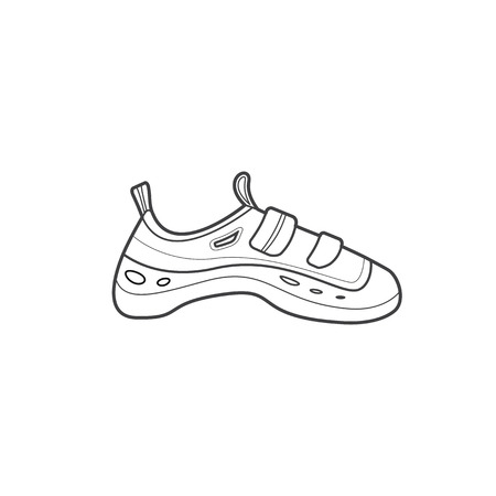 foot gear: vector monochrome contour climbing shoes isolated black outline illustration on white background