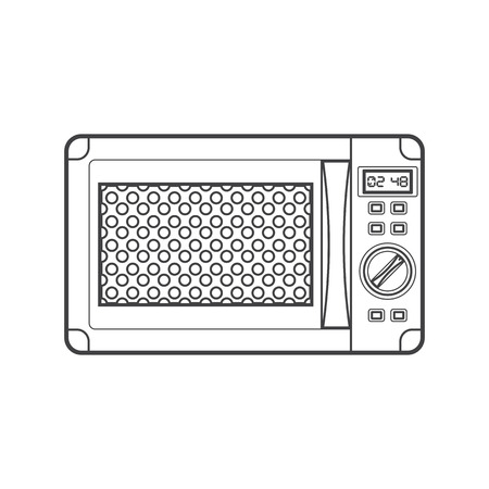 button front: vector monochrome contour modern kitchen microwave oven isolated black outline illustration on white background
