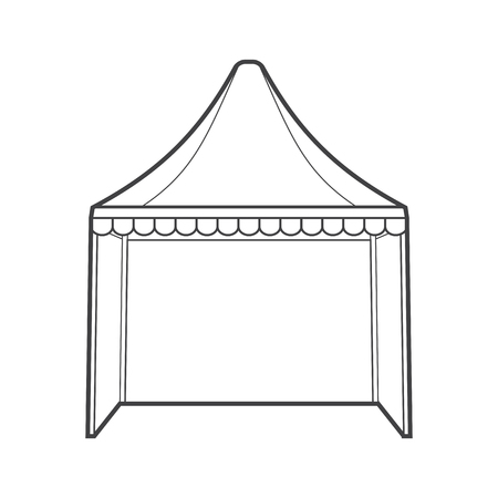 wedding reception decoration: vector monochrome contour dome folding event tent marquee isolated black outline illustration on white background