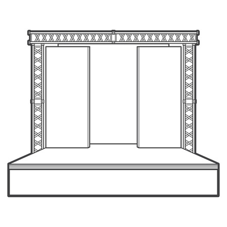 vector monochrome contour high empty stage metal event truss isolated black outline illustration on white background