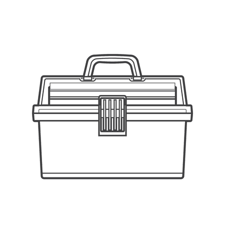 bait box: vector monochrome contour fishing tackle box transparency plastic top isolated black outline illustration on white background Illustration