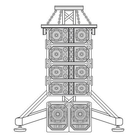 surround system: vector monochrome contour line array loudspeakers satellites suspended metal truss subwoofers isolated black outline illustration on white background