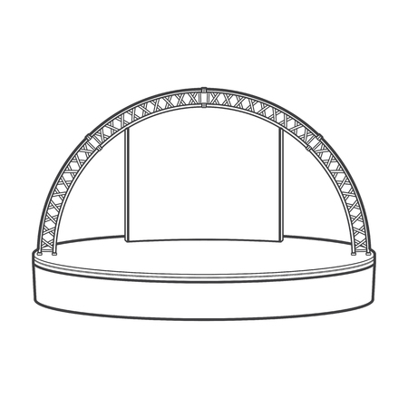 metal monochrome: vector monochrome contour empty estrade rounded stage metal truss isolated black outline illustration on white background