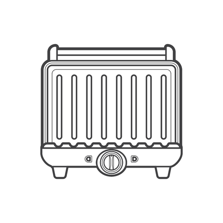 panini: vector monochrome contour electric press contact planchetta grill isolated black outline illustration on white background