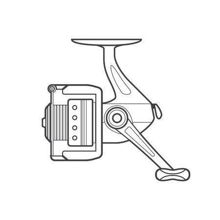 spinning: vector monochrome contour spinning fishing fixed spool reel isolated black outline illustration on white background