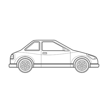 coupe: black monochrome contour coupe body type vehicle illustration isolated white background